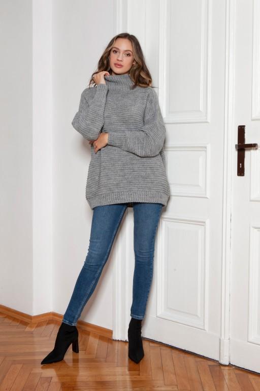 Oversized turtleneck sweater, SWE148 grey
