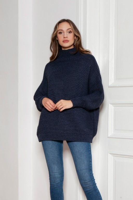 Oversized turtleneck sweater, SWE148 navy