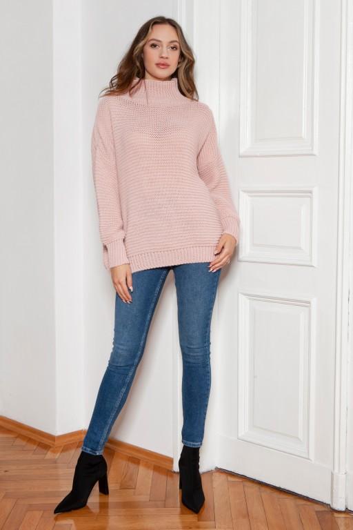 Oversized turtleneck sweater, SWE148 pink