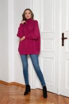 Oversized turtleneck sweater, SWE148 amaranth
