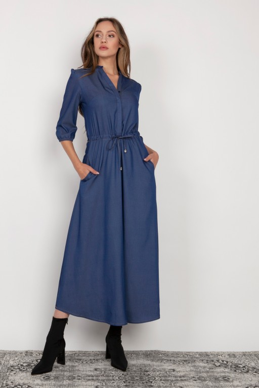 Long dress with 3/4 sleeves and a drawstring, SUK205 jeans