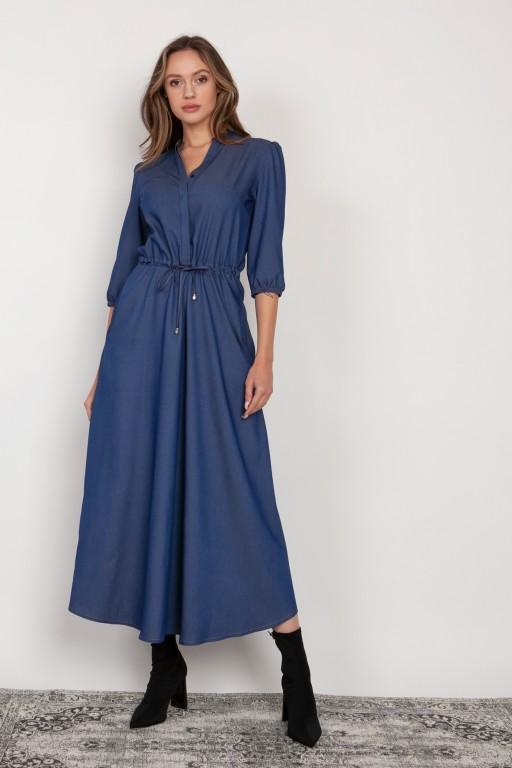 Długa sukienka z rękawem 3/4 i troczkiem, SUK205 jeans