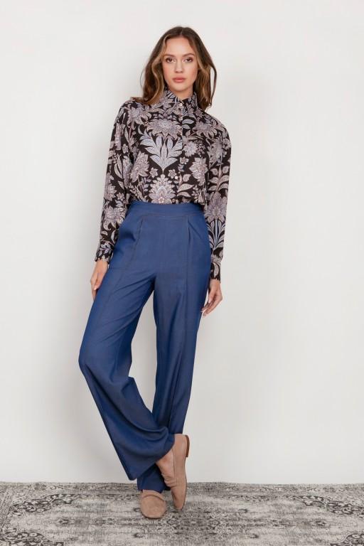 Szerokie spodnie z płaskim przodem, SD124 jeans
