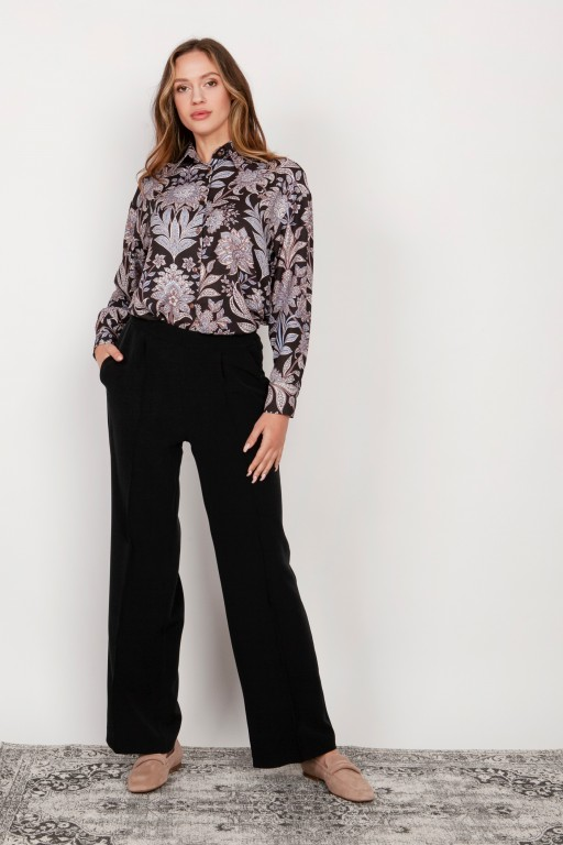 Wide trousers with a flat front, SD124 black