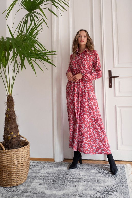 Buttoned maxi dress with a collar, SUK204 red pattern