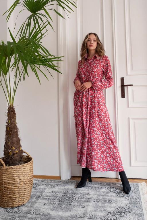 Sukienka maxi na guziki, z kołnierzykiem, SUK204 czerwony wzór