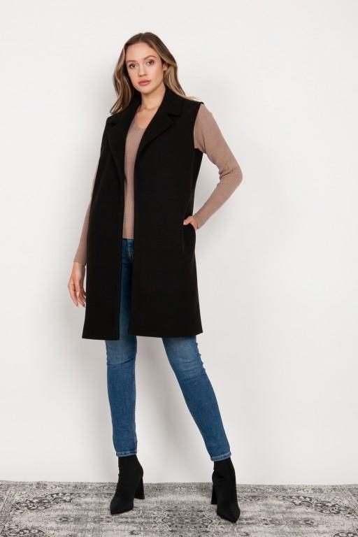 Long, fleece vest, KM105 black