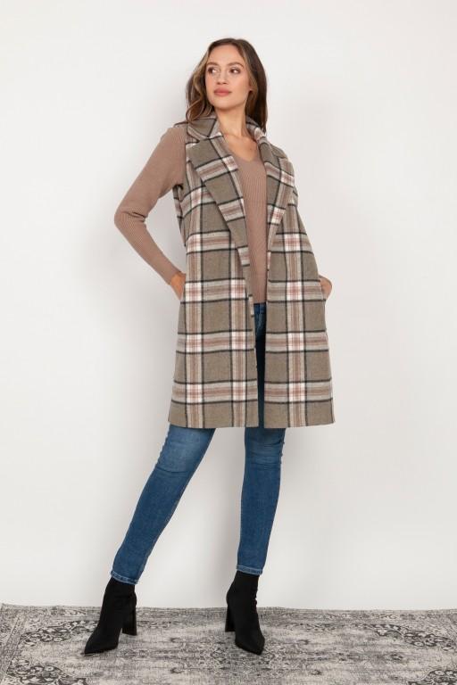 Long, fleece vest, KM105 grey and pink check