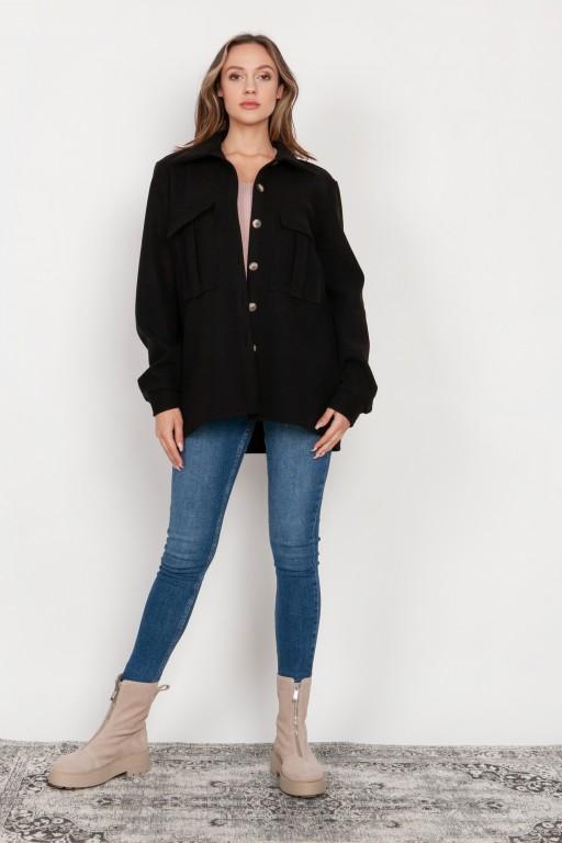 Flauszowa kurtka koszulowa, K115 czarny