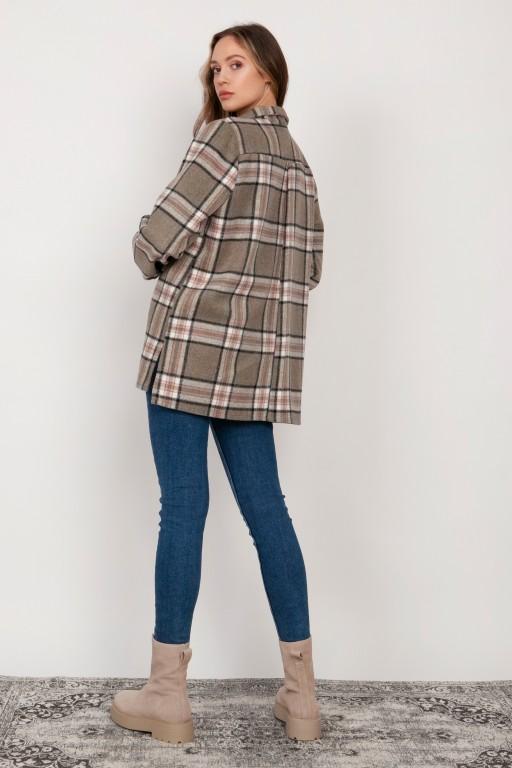 Fleece shirt jacket, K115 grey and pink checked