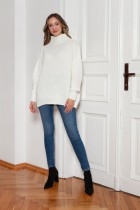 Oversized turtleneck sweater, SWE148 ecru