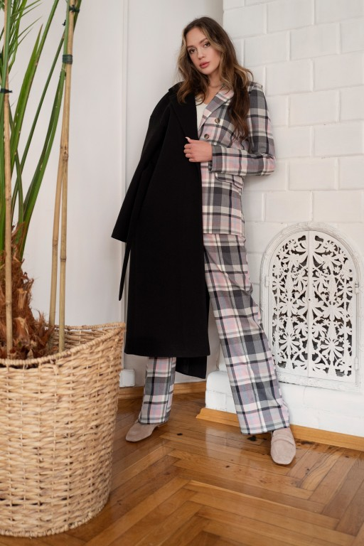 Długi flauszowy płaszcz z paskiem, PA103 czarny