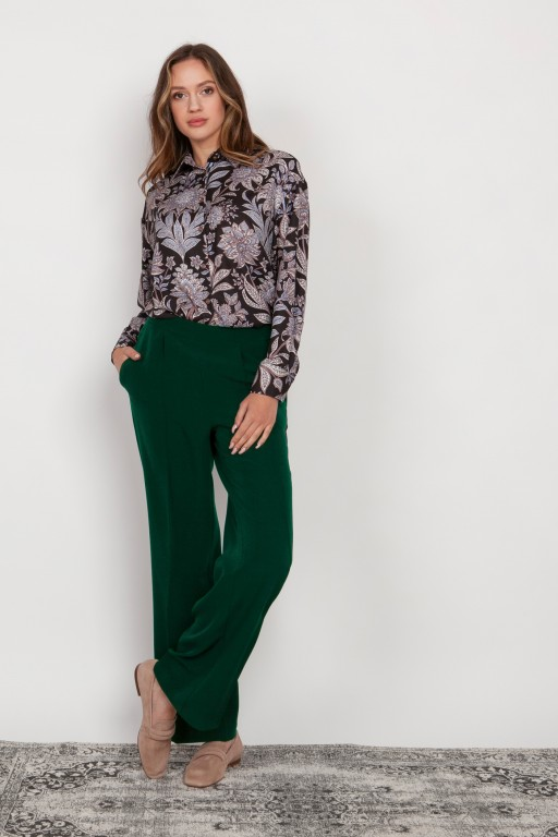 Wide trousers with a flat front, SD124 green