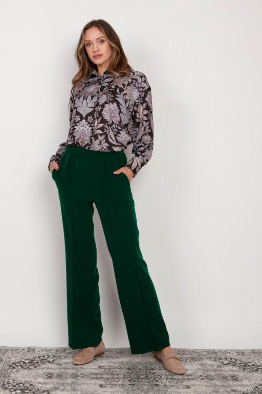 Szerokie spodnie z płaskim przodem, SD124 zielony