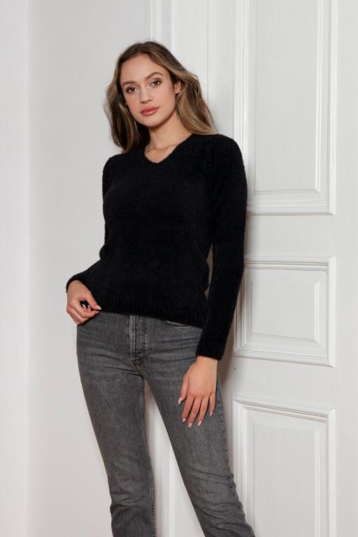 Soft, hairy sweater, SWE147 black