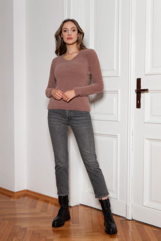 Soft, hairy sweater, SWE147 mocca