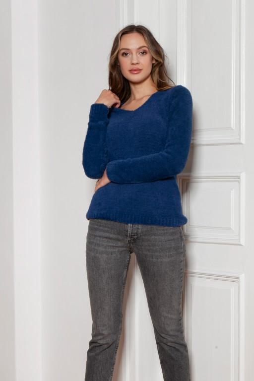 Soft, hairy sweater, SWE147 navy