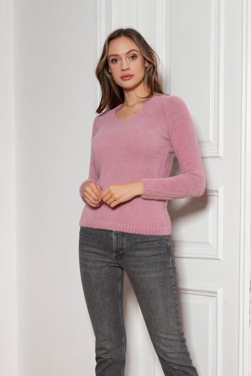 Soft, hairy sweater, SWE147 pink