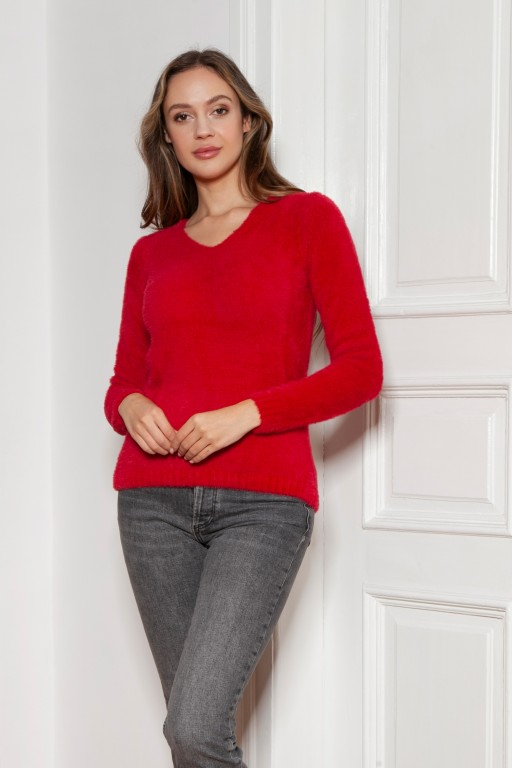 Soft, hairy sweater, SWE147 red