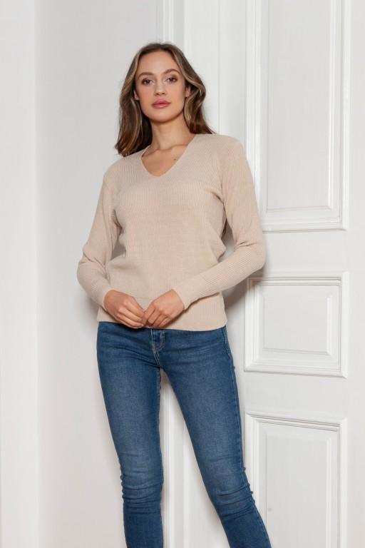 Ribbed sweater, SWE146 beige