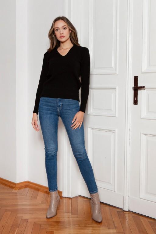 Sweter w prążek, SWE146 czarny