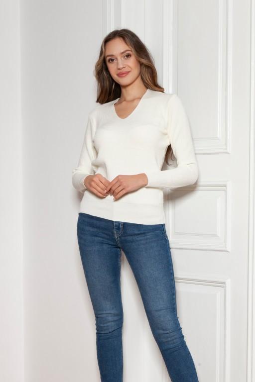 Sweter w prążek, SWE146 ecru