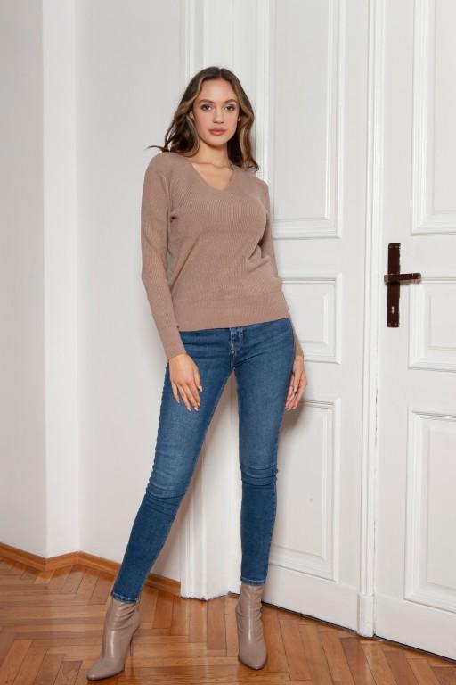 Sweter w prążek, SWE146 mocca