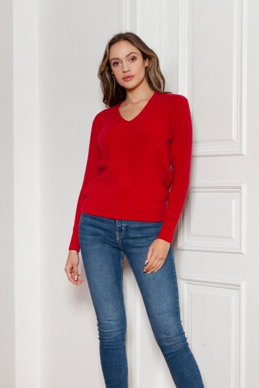 Sweter w prążek, SWE146 czerwony