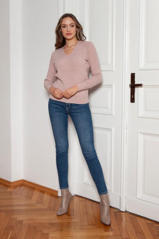Sweter w prążek, SWE146 różowy