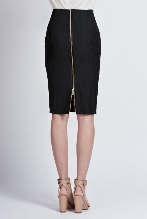 Spódnica ołówkowa z czarnego jeansu, SP102 jeans