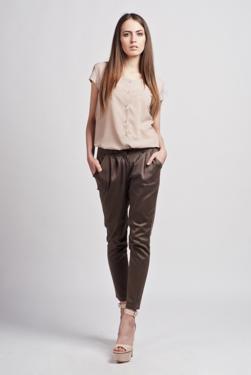 Shirt with short sleeves, K102 beige
