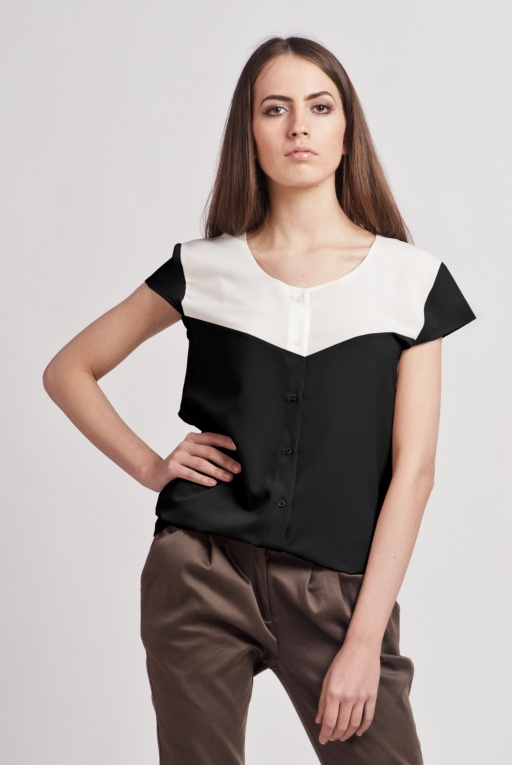 Shirt with short sleeves, K102 ecru/black