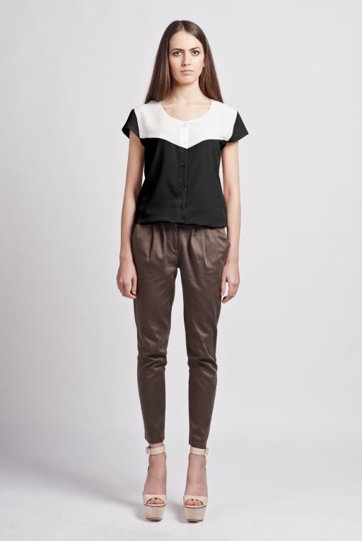 Koszula z krótkim rękawem, K102 ecru/czarny