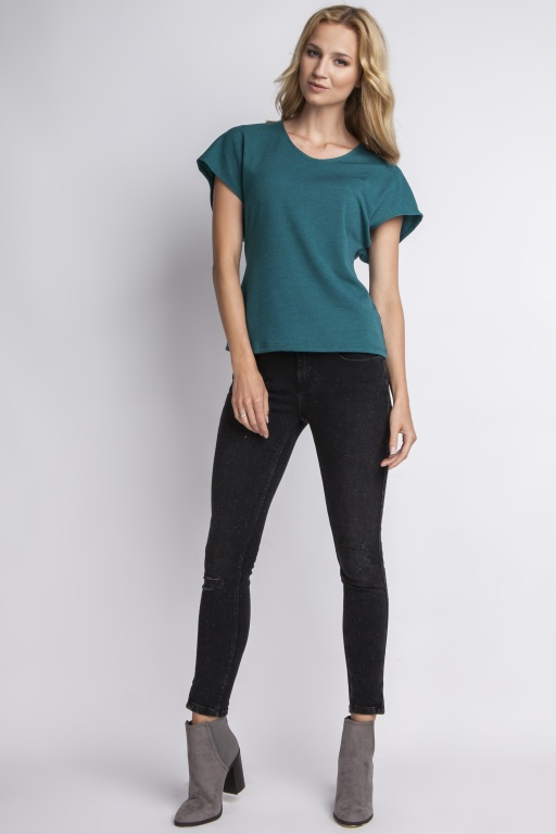 Blouse with a fine knit, BLU101 green