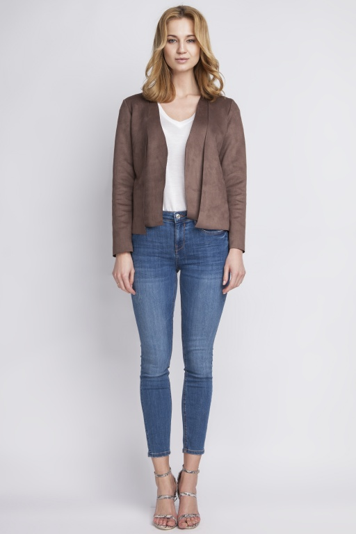 Suede short jacket, ZA111 brown