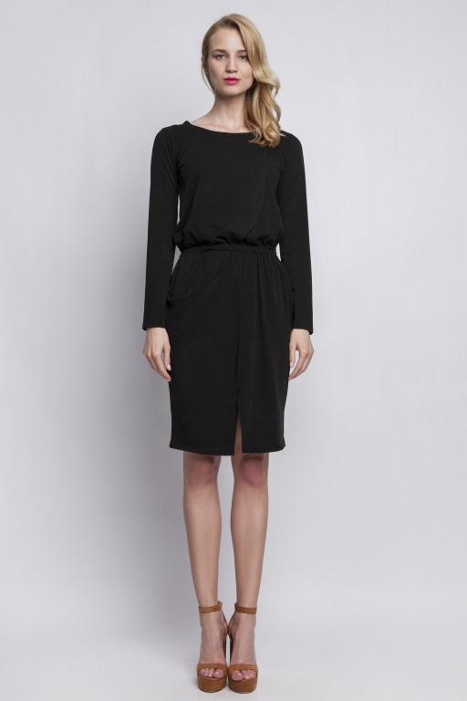 Dzianinowa sukienka z kieszenią, SUK109 czarny