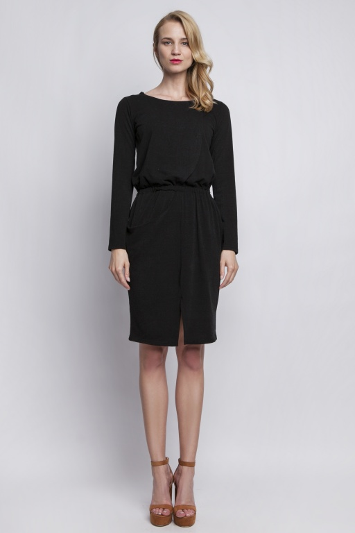 Knitted dress with pockets, SUK109 black