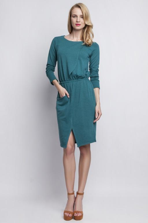 Dzianinowa sukienka z kieszenią, SUK109 zielony