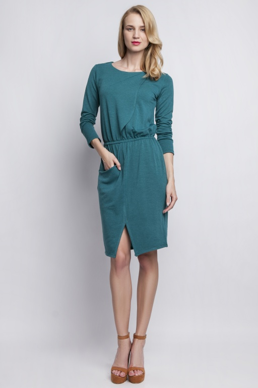 Knitted dress with pocket, SUK109 green
