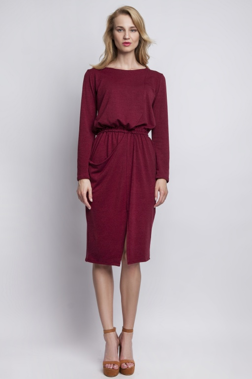 Dzianinowa sukienka z kieszenią, SUK109 bordo