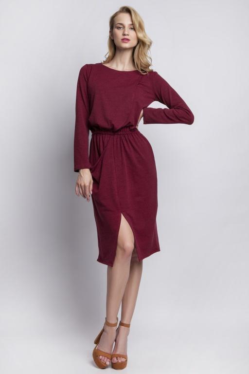 Dzianinowa sukienka z kieszeniami,   SUK109 bordo