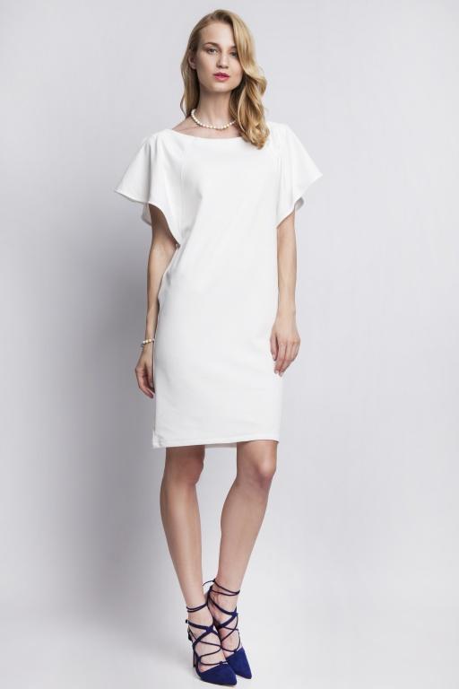 Sukienka z oryginalnymi rękawami, SUK104 ecru