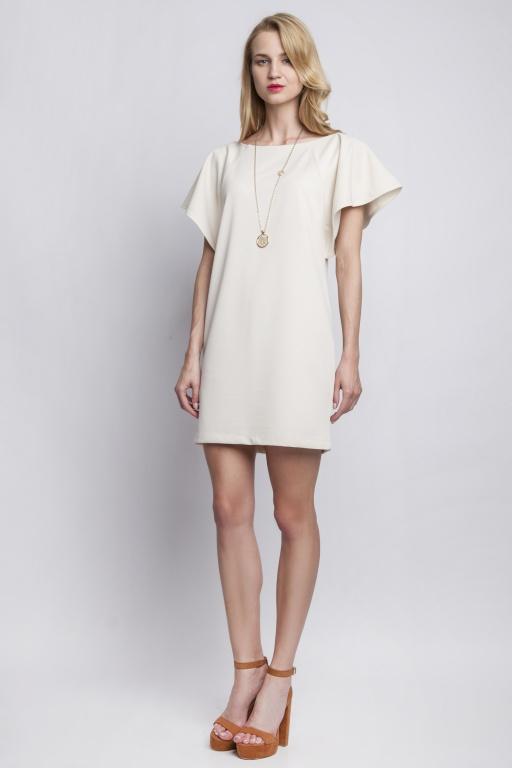 Sukienka z oryginalnymi rękawami, SUK104 beż