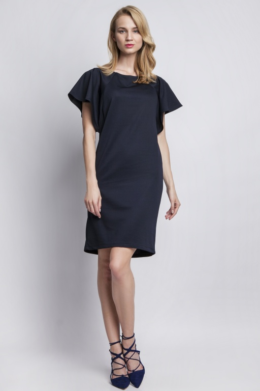 Dress with original sleeves, SUK104 navy