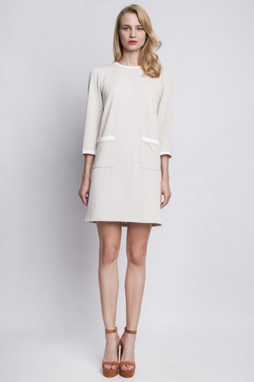 Sukienka z kieszeniami, SUK103 beż