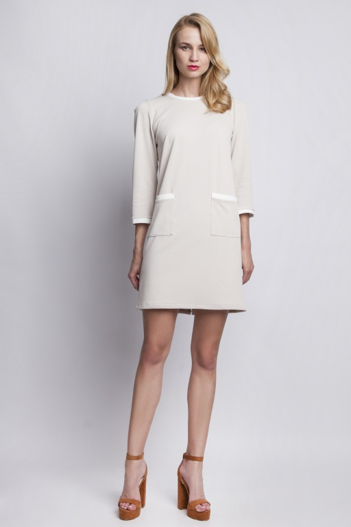 Dress with pockets, SUK103 beige
