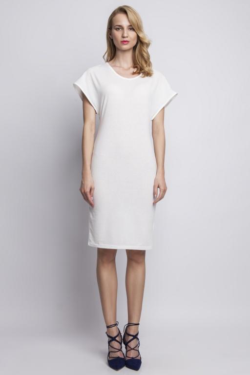 Sukienka dopasowana, SUK101 ecru