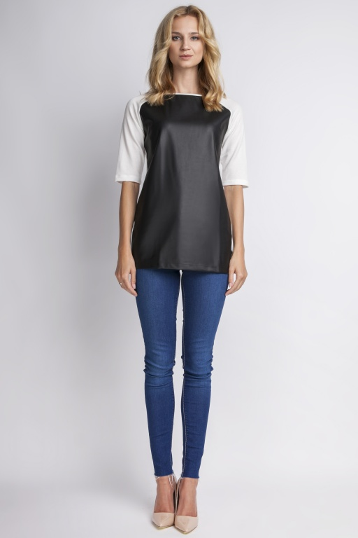 Blouse with contrasting front, BLU103 ecru