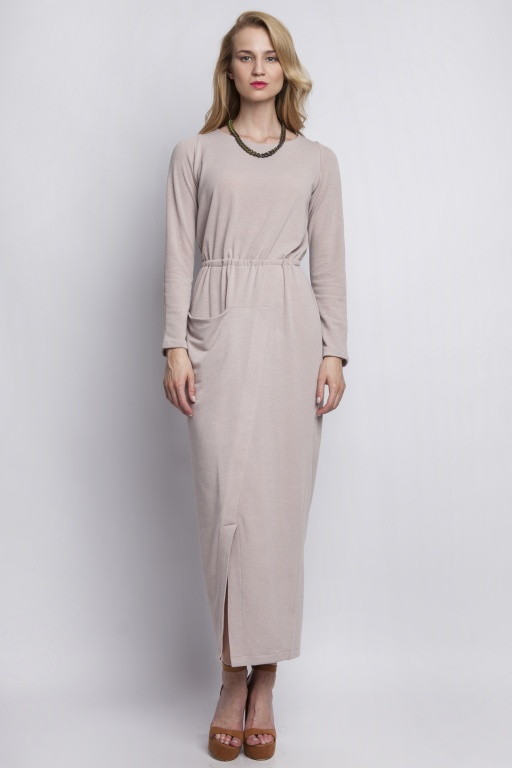 Maxi dress with asymmetrical pocket, SUK111 beige