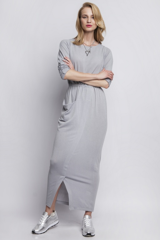 Maxi dress with asymmetrical pocket, SUK111 gray